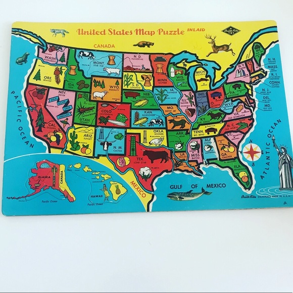Vintage 1950's United States map puzzle decor art